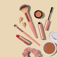Lots of makeup and skincare products spread out