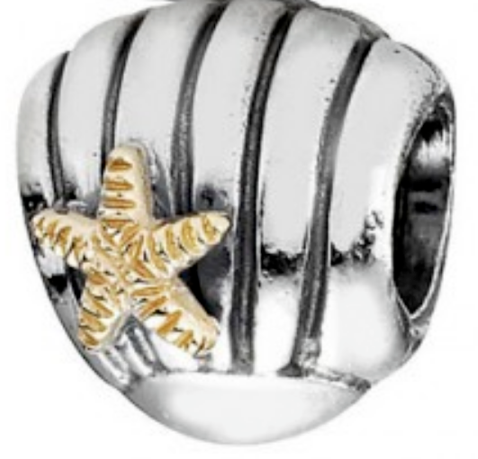 Authentic Pandora Sea Shell Charm 790249 2 Tone 14k Gold & Silver Starfish Bead