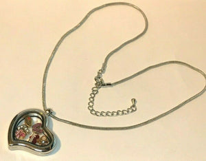 Origami Owl Silver Heart Locket Chain Necklace 6 Charms Mom Shop Flip Flop Paw L