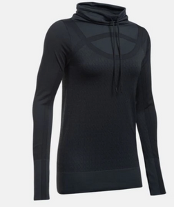 Under Armour UA Threadborne Funnel Neck LS Womens Shirt 1279536 Black M or L $70