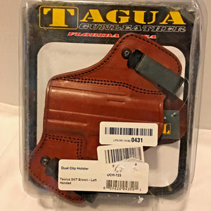 Tagua GunLeather DCH-123 Taurus 24/7 Brown Dual Clip Holster, Brown, LEFT Hand