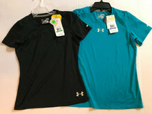 Load image into Gallery viewer, Under Armour HeatGear Girls Sonic Short Sleeve Tshirt 1236060 Blue or Black L-XL