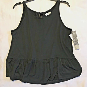 Nordstrom 14th & Union Knit Peplum Bow Tie Back Tank Shirt Black or Blue Dark