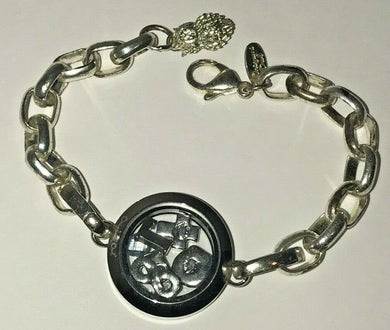 Origami Owl Classic Silver Link Bracelet Circle Crystal & 6 Floating Charms 7.5