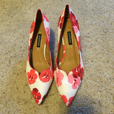 Kay Unger Shoes SHIMSHAM Cherry Blossom Floral Point Toe Pumps Size 6.5