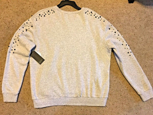 Free Press Womens  Bead Embellished Sweater Fleece Top Grey Light Heather Large