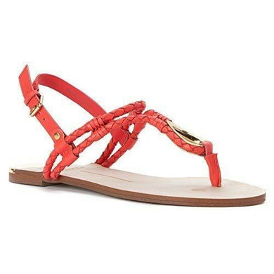 DV by Dolce Vita Women's Dixin Thong Sandal, Coral Leather Gold, Sz 10 - $80