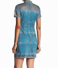Load image into Gallery viewer, NSR Napean Sea Rd Green Women Geo-Lace Mock-Neck Sheath Dress Vintage Teal SMALL