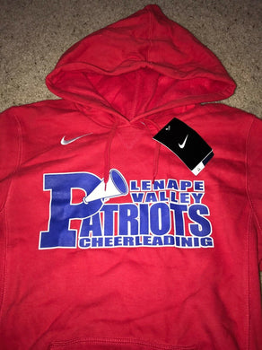 NIKE Red Fleece Hoodie LENAPE VALLEY PATRIOTS CHEERLEADING New w/Tags $50