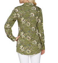 Load image into Gallery viewer, C Wonder Floral Carrie Blouse Button Down Shirt Olive Green Womens Size 2 QVC