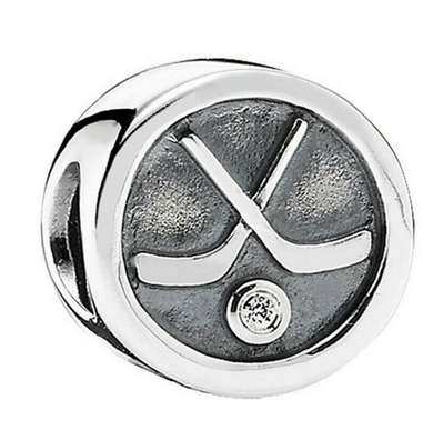 Authentic Pandora Hockey Puck Silver Charm 791203CZ Cubic Zirconia Sports