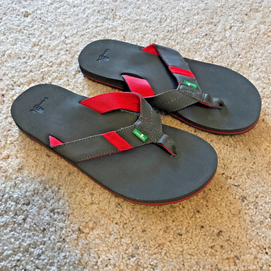 SANUK JET STREAM Flip Flops Grey/Red Men's - 9 - Thong Sandal Shoes  Flip Flops