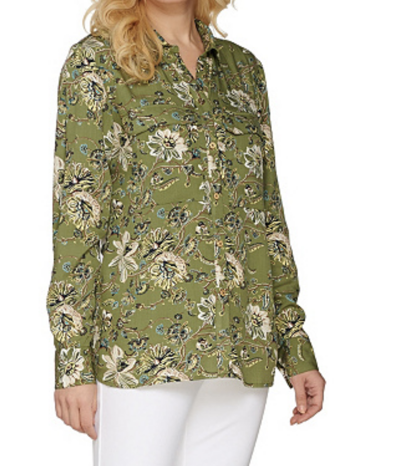C Wonder Floral Carrie Blouse Button Down Shirt Olive Green Womens Size 2 QVC