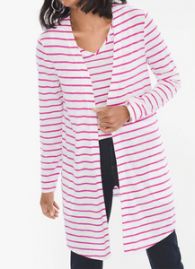 Chicos Womens Stripe Knit Cardigan Jacket White Pink or Blue Sz 2 14/16 L - $65