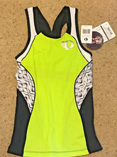 Load image into Gallery viewer, Pearl Izumi Elite Women Tri Singlet In-R-Cool Cycling Jersey Lime Blk White $85
