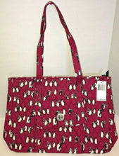Load image into Gallery viewer, Vera Bradley TurnLock Tote in Playful Penguins Cabernet Fabric - 24771 -  $109