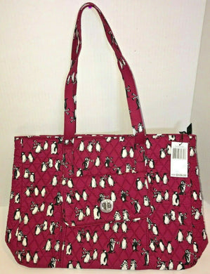 Vera Bradley TurnLock Tote in Playful Penguins Cabernet Fabric - 24771 -  $109