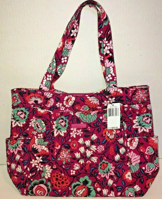 Vera Bradley Factory Style PLEATED TOTE Large Bag Bloom Berry or Painted Paisley