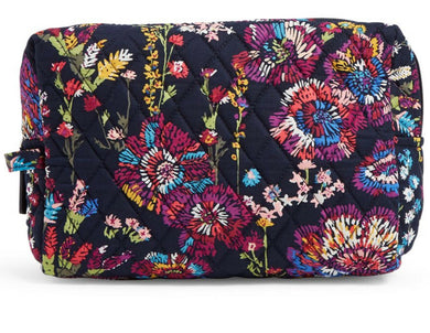 Vera Bradley Large Cosmetic Case Makeup Case Organizer Midnight Wildflowers