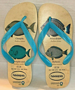 Havaianas Conservation Flip Flop Sandals Multiple Fish Species Size 7/8 W, 6/7 M
