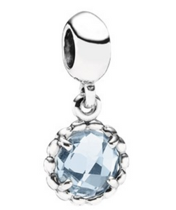 Authentic PANDORA Bluebell Drop Dangle Charm 791021BTP Blue Topaz Sterlng Silver
