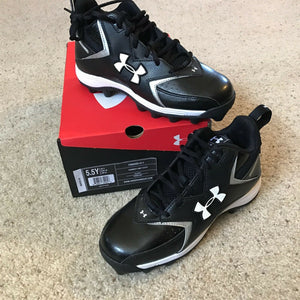 Under Armour UA HAMMER II MID Youth Cleats Black Kids Sz 5.5 Y 1099060-011 NEW