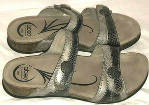 Abeo Barbara Adjustable Strap Slide Sandals Women's 8 Neutral Pewter Metallic