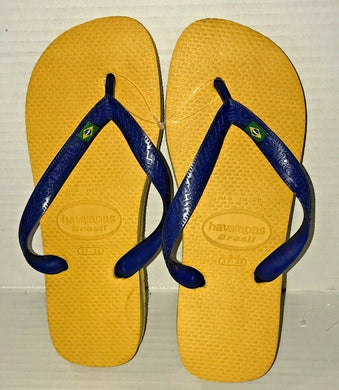 Havaianas Flip Flops Brazil Logo Flip Sandals Women 7/8 37-38 Green Blue Brown+