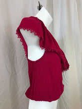 Load image into Gallery viewer, Ten Sixty Sherman Persian Red Women's One-Shoulder Short Ruffle Blouse SMALL NWT