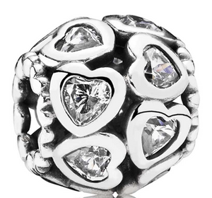 Authentic PANDORA Love All Around Heart Charm 791250cz Sterling Cubic Zirconia