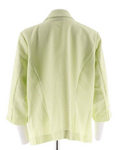 Joan Rivers Seersucker Jacket with 3/4 Sleeve A262521 Lime and White Womens Sz 8