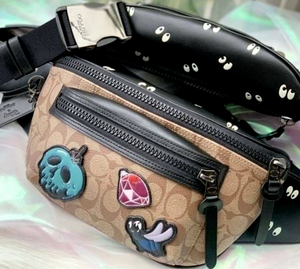 Disney X Coach Terrain Belt Bag In Signature Canvas Snow White 7 Dwar Eyes Print
