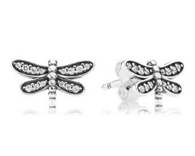 Authentic PANDORA Dragonfly Silver Stud Pierced Earrings 290574CZ Sterling