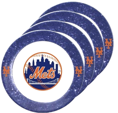 MLB NY New York METS - Set of 4 Melamine Dinner Plates - 10.25