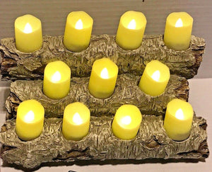 "Birch Wood Resin 12"" Logs Flameless LED Tealight Candle Fireplace w/ REMOTE"