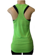 Load image into Gallery viewer, Under Armour UA Womens HeatGear Victory Pinney Mesh Tank Top 1236469 Yellow Grn