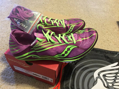 Saucony Women Endorphin MD3 Running Shoe Purple/Slime Spike Track Shoes 10