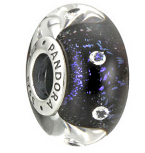 Authentic Pandora Midnight Effervescence Murano Glass Charm 791627CZ Silver