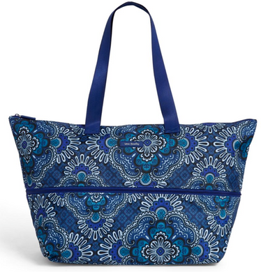 Vera Bradley Lighten Up Expandable TRAVEL BAG Blue Tapestry Lightwt Tote - $98