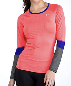 Under Armour UA Womens HeatGear Color Block Long Sleeve Fitted Shirt 1248567 XS