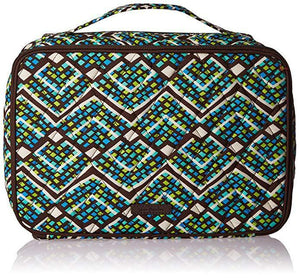 Vera Bradley Large Blush & Brush Makeup Case -Fabric Rain Forest Green