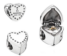 Load image into Gallery viewer, Authentic Pandora Gift From the Heart 2 Tone Charm Opens 791247CZ Silver 14K