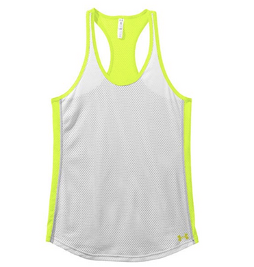 Under Armour UA Womens HeatGear Victory Pinney Mesh Tank Top 1236469 Yellow Grn