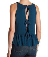 Load image into Gallery viewer, Nordstrom 14th & Union Knit Peplum Bow Tie Back Tank Shirt Black or Blue Dark