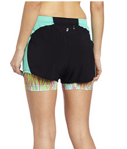Asics Women's Versatility Shorts Layers Black/Mint - WS1638 - Stretch - Size L
