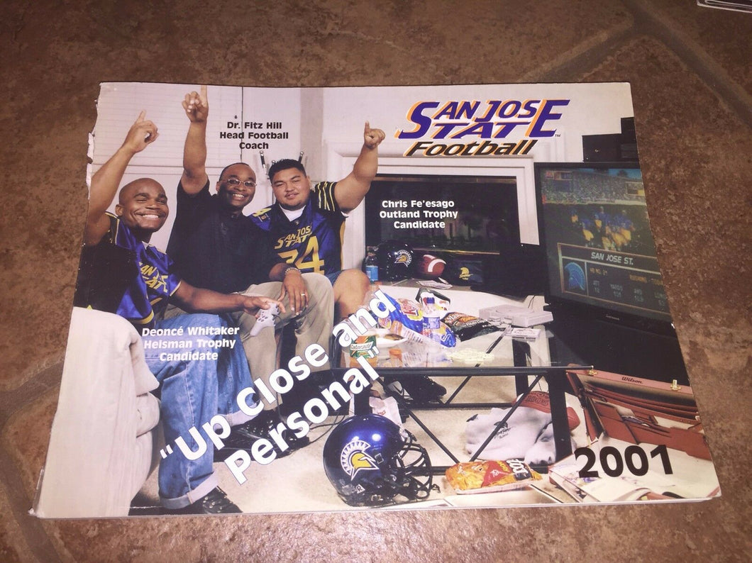2001 SAN JOSE STATE COLLEGE FOOTBALL MEDIA GUIDE UP CLOSE AND PERSONAL -b4