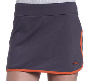 Asics Womens  ABBY Activewear Skorts Skirt WF0960 Grey Orange Trim Size XL
