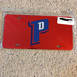 Detroit Pistons Deluxe Crystal Laser Cut Mirrored License Plate Tag NBA