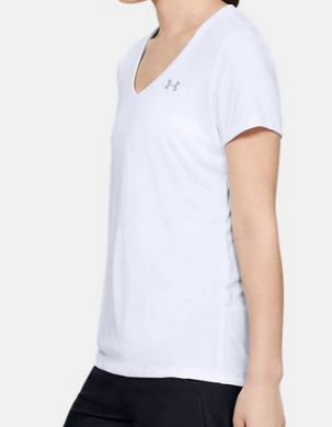 Under Armour HeatGear Womens UA Tech Tee V-Neck SS Tee 1255839 Black White Grey