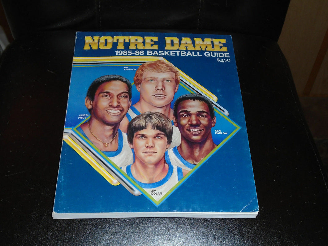 1985 1986 NOTRE DAME COLLEGE BASKETBALL MEDIA GUIDE EX-MINT BOX 3